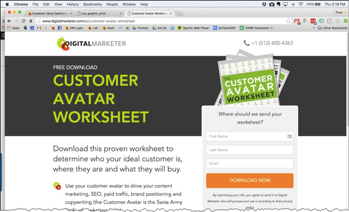 An example of a landing page from DigitalMarketer