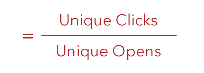 Email Click-Through Rate = Unique Clicks divided by Unique Opens