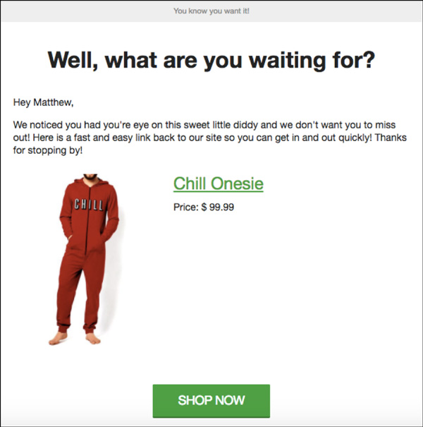 Paragon Apparel automated email example
