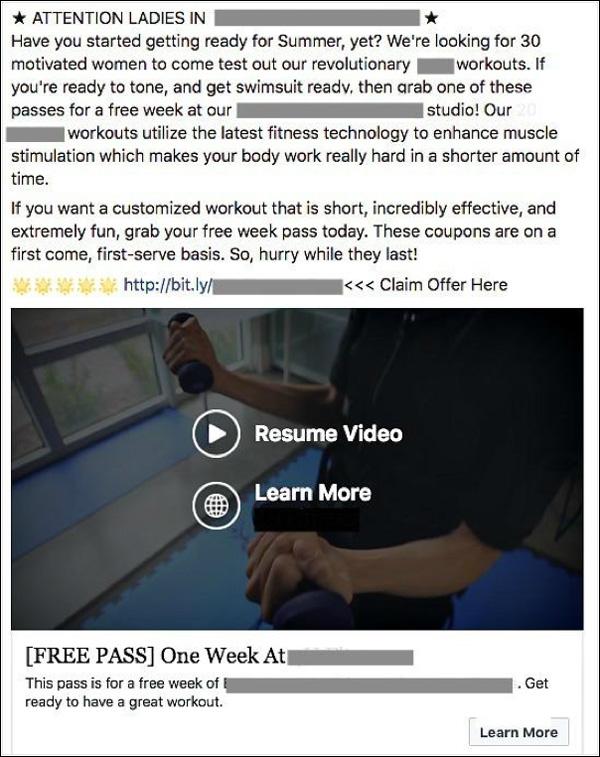 Facebook Ad for Month 1