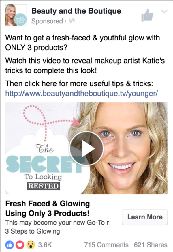 Beauty and the Boutique Facebook ad