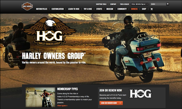 Harley Owners Group (HOG) home page