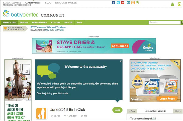 An example of a automated welcome message from the BabyCenter Community