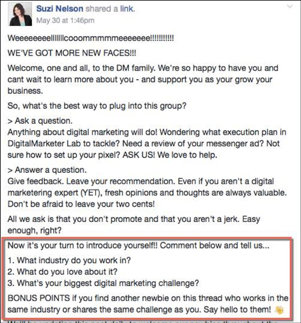 DigitalMarketer Community Welcome Post with CTAs