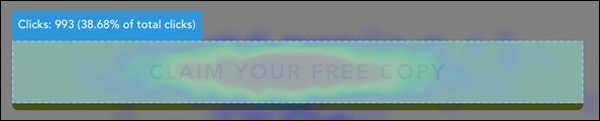 """Claim Your Free Copy"" main CTA button heatmap"