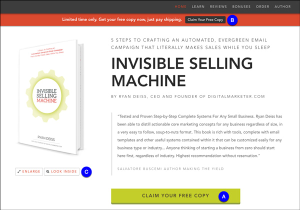 Invisible Selling Machine Landing Page