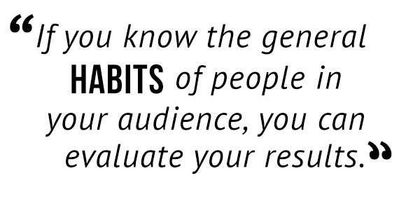 """If you know the general habits of people in your audience, you can evaluate your results."""