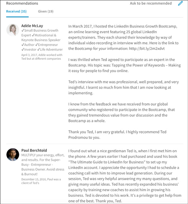 LinkedIn recommendations Ted's received