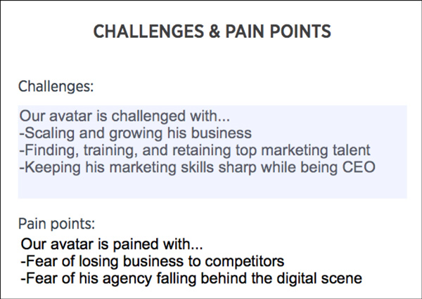 Customer Avatar Worksheet Challenges and Pain Points