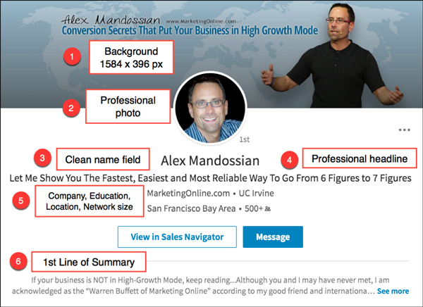 Alex Mandossian's LinkedIn profile