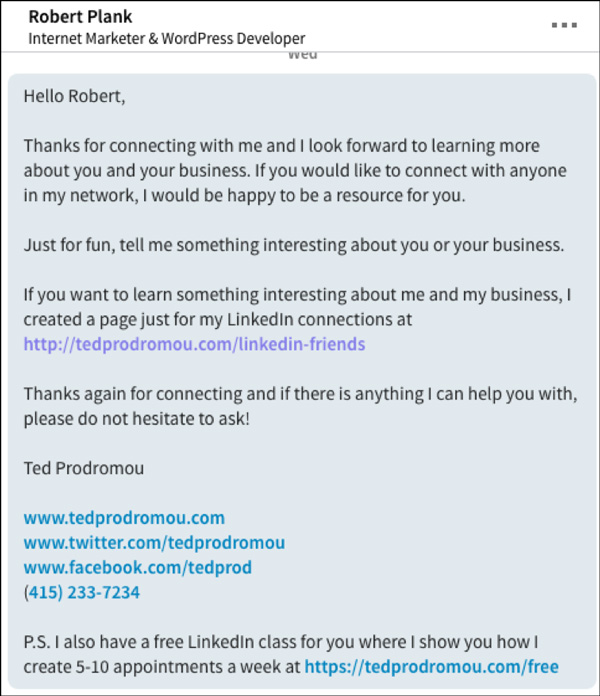 LinkedIn Welcome Message example