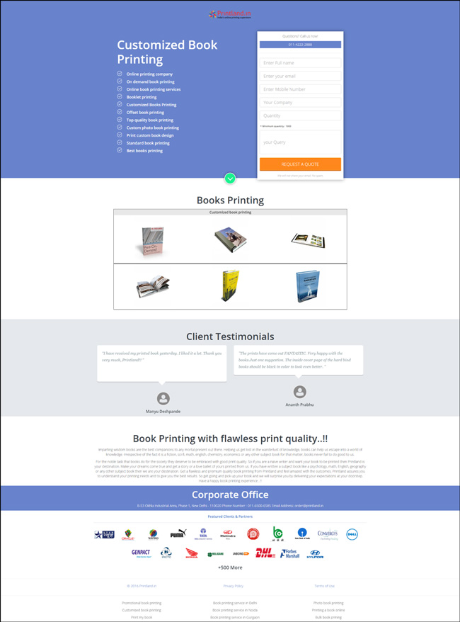 Printland Landing Page