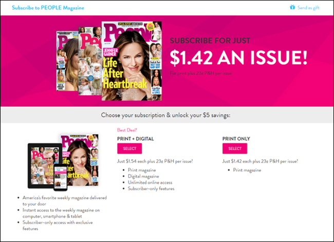 People Magazine Landing Page