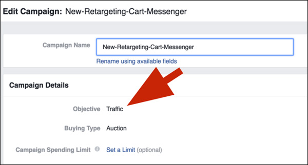 "Within Facebook, create a new ad campaign and set your objective to ""Traffic."""