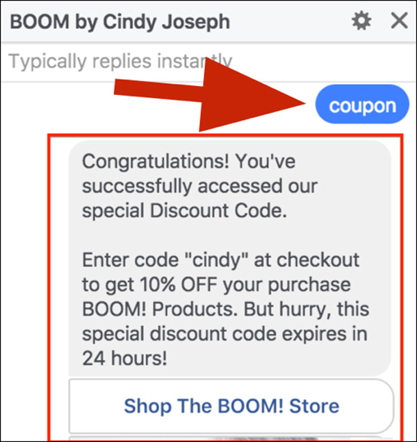 Example of BOOM! chatbot coupon response