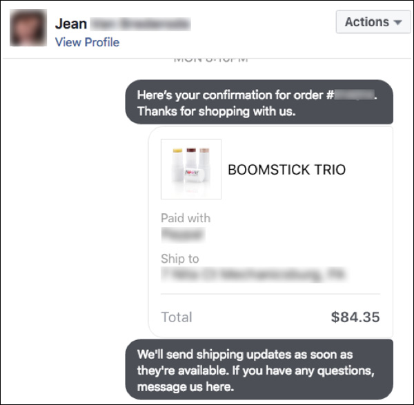 An example of sending your customer their order info using Facebook Messenger