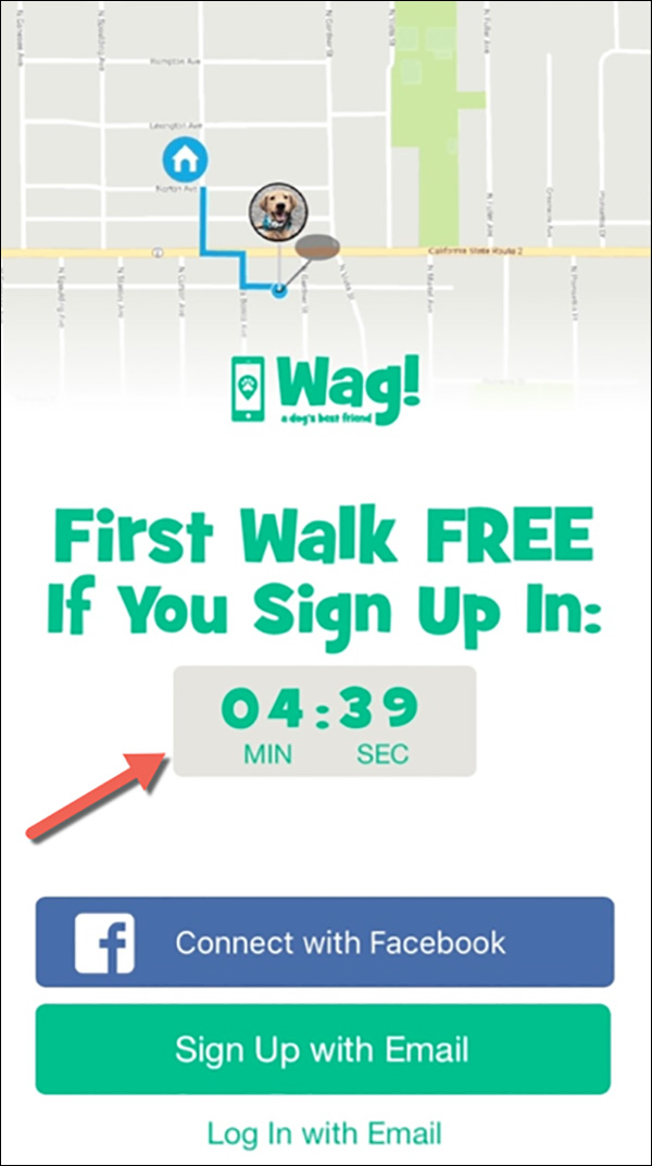 Wag's! screen to download their app with a countdown timer