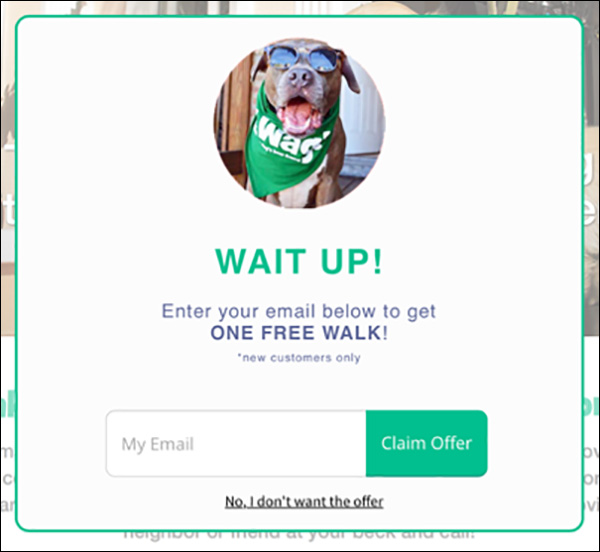 Wag! website exit pop-up
