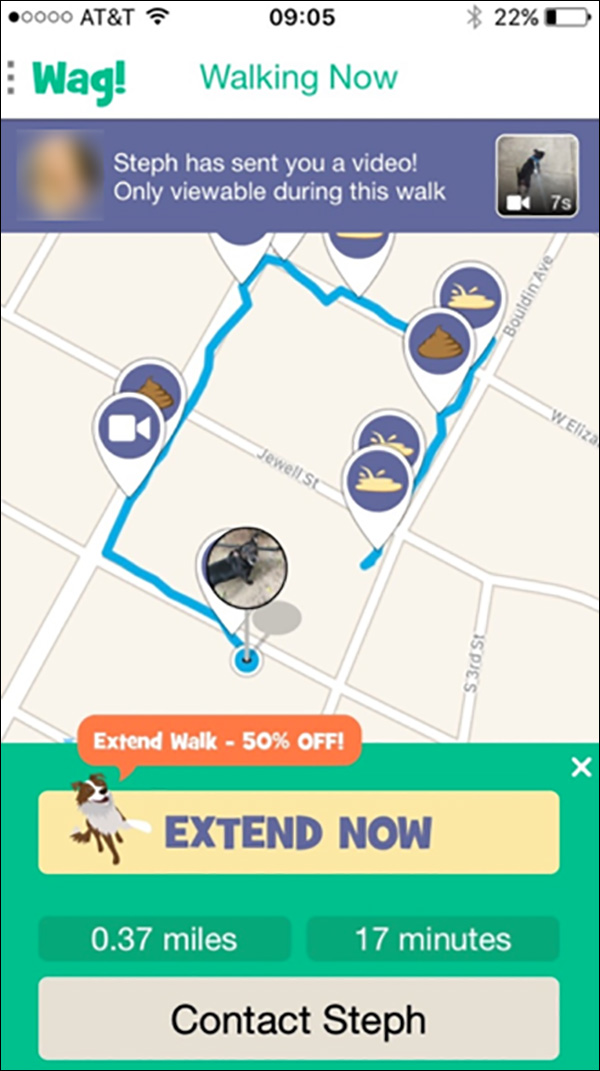 Wag's! app showing your dog's walk in real time