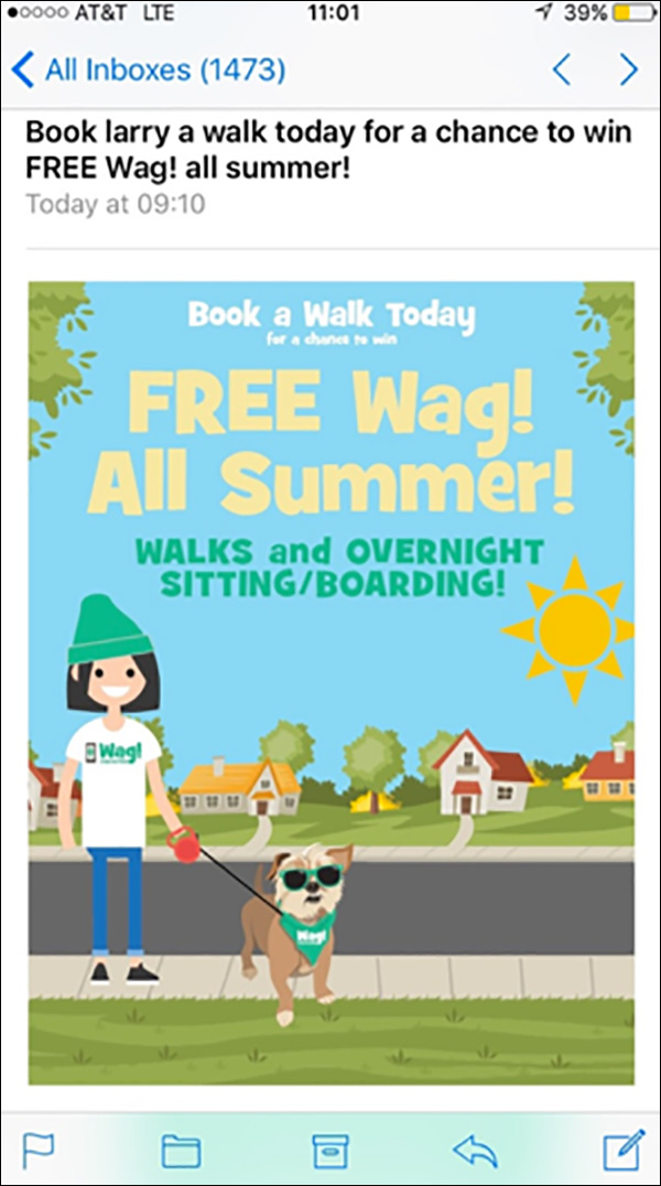Wag! promotional email with a contest to win Wag! all summer