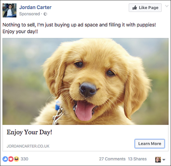 Jordan Carter Facebook Ad