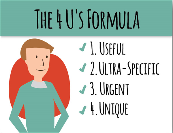 The 4 U's Formula: 1. Useful 2. Ultra-Specific 3. Urgent 4. Unique