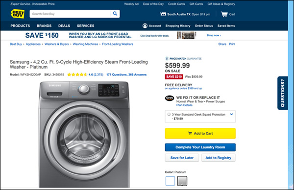 A Best Buy product page for a front-loading washing machine