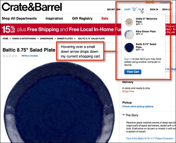 Crate&Barrel making the shopping cart visible from any page on their site