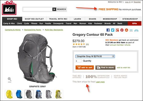 REI prominently making it known that they offer free shipping in multiple sections on their product page