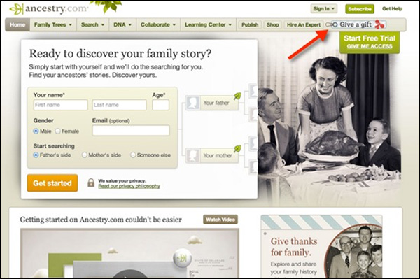 """Give a gift"" call-to-action with Ancestry.com"