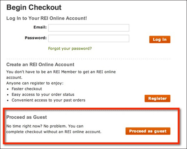 REI letting customers create an account or checkout as a guest