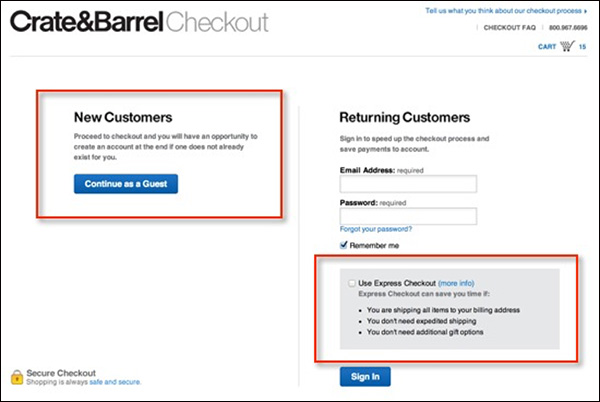 Crate & Barrel letting new customers checkout as a guest and returning customers use Express Checkout