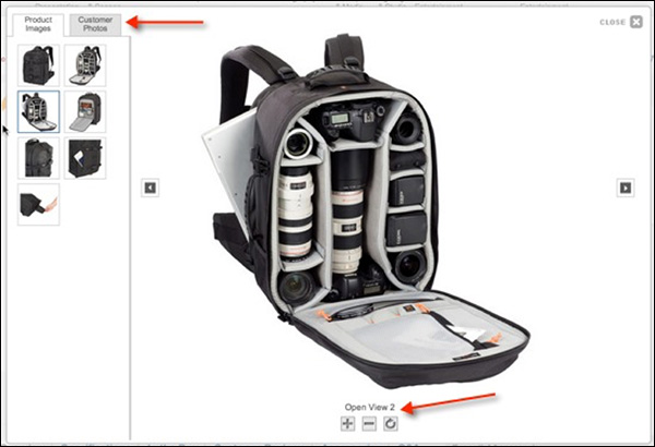 B&H provides lots of images and ways for customers to interact when looking at this camera bag, including customer photos