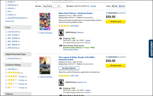 "An example of a ""list view"" from Best Buy"