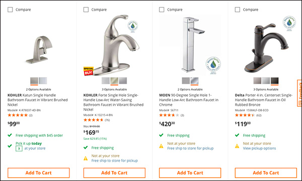 "Home Depot includes a ""WaterSense"" seal for their faucets"