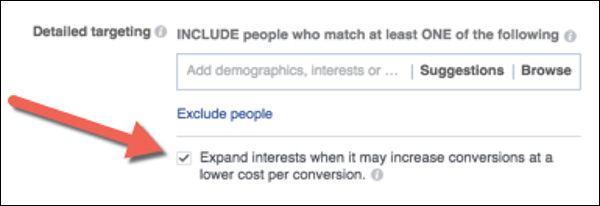 Where to find interest targeting expansion in Facebook
