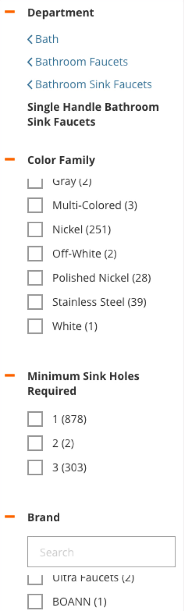 Home Depot filtering options