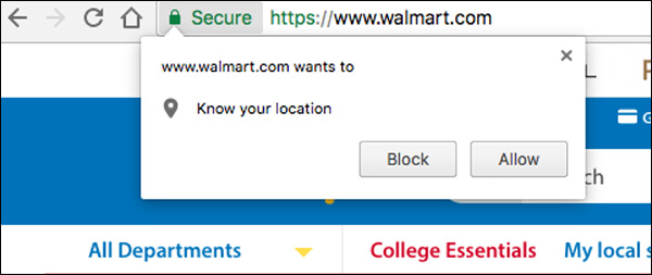 Walmart prompting a user with a notification asking for location access
