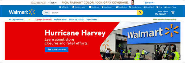 Walmart using a static banner image on their website giving information on store closures and relief efforts after Hurricane Harvey