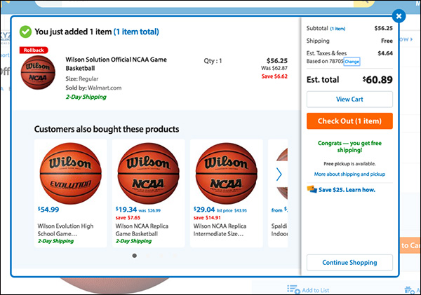 An example of an Add to Cart interstitial when adding a basketball to the cart
