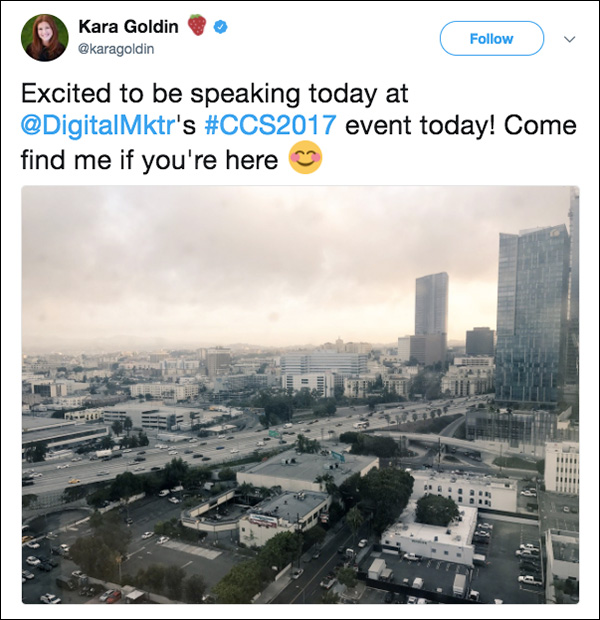 Kara tweets her excitement before her keynote at Content & Commerce Summit 2017