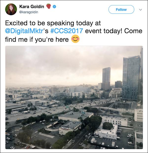 Kara tweets her excitement before her keynote at Content & Commerce Summit 2017