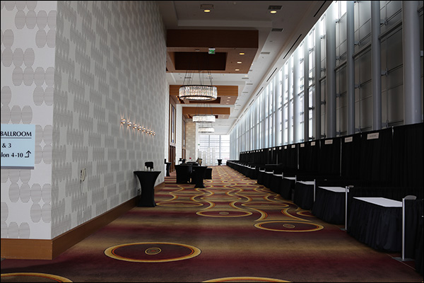 Setting up sponsor booths at Content & Commerce Summit 2017