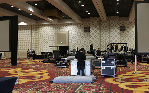Setting up the ballrooms at Content & Commerce Summit 2017