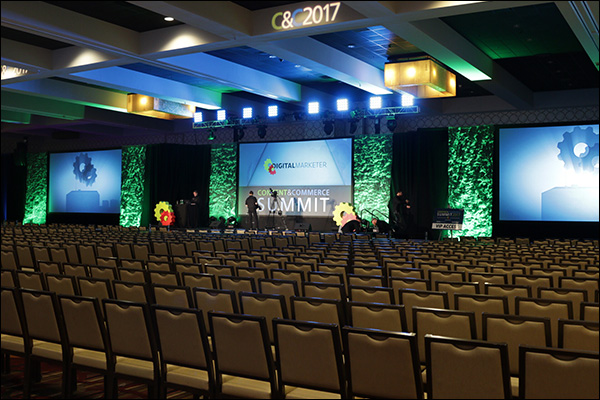 The stage in the DigitalMarketer ballroom at Content & Commerce Summit 2017