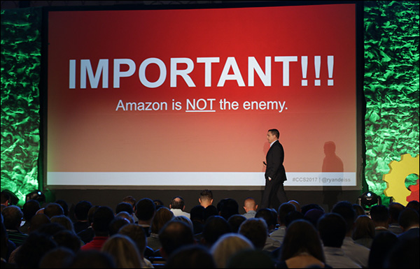 """Amazon is not the enemy."" Ryan Deiss during his opening keynote at Content & Commerce Summit 2017."