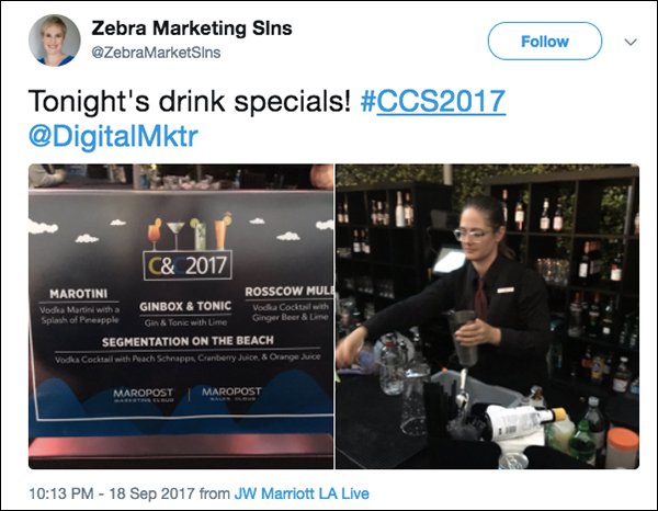 Drink specials at Maropost Reception at Content & Commerce Summit 2017