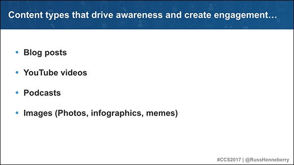 Content types that drive awareness and create engagement: blog posts, YouTube videos, podcasts, images