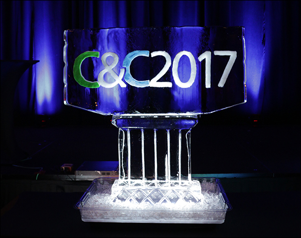 Content & Commerce Summit 2017 ice sculpture at the VIP party