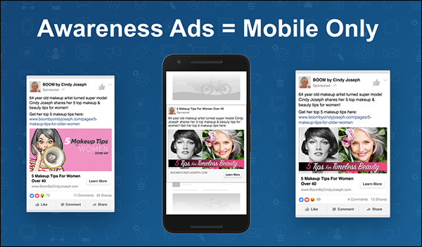 Use mobile for your awareness ads — a slide from Ezra Firestone's keynote presentation at Content & Commerce Summit 2017